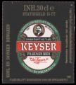 Keyser Pilsener Beer - Backlabel without barcode