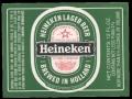 Heineken Lager Beer export USA squarely label - Frontlabel