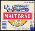 Malt Br�u Birra Lager 66 cl - Frontlabel with barcode